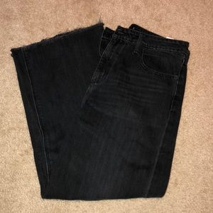 Size 30 Lucky Brand Wide Leg Cropped Black Jeans